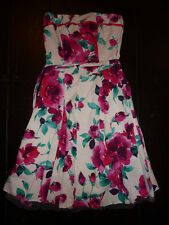 New Look white and pink bandeau, strapless A line dress. Size 10