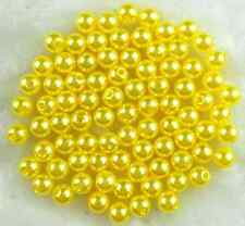 100Pcs 8mm Yellow Round Acrylic Pearl beads Spacer Loose Beads