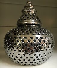 Vintage Ornate Cut Out Silver Ceramic Lidded Moroccan Lantern Candle Holder NEW