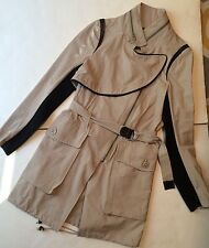 YIGAL AZROUEL Khaki Leather  Lightweight Fashion Spring Trench Jacket Sz 2