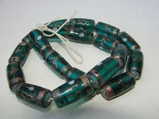"Lampwork Cylinder/Tube Glass Beads  16"" strand 20x11mm Teal"