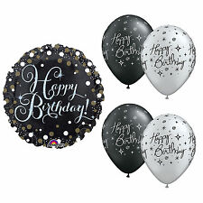 Happy Birthday Black, Gold and Silver Balloons Party Decorations (5 Pack)