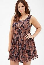 Forever 21 Plus Size Rose Print Floral Party flared Skater Dress XL