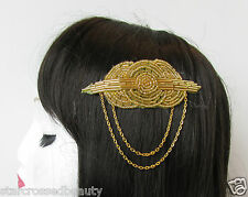 1920s Gold Beaded Hair Comb Flapper Great Gatsby Vintage Chain Bridal Clip Q92