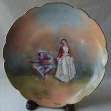 "ANTIQUE IMPERIAL LIMOGES FRANCE PORTRAIT PLATE SERENADE - SIGNED 9-1/4"" D"