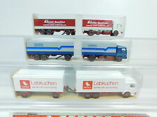 AT278-0,5# 3x Wiking H0 Trailer truck MAN: 473 Albis/Schmidt + 471 Lebkuchen, vg