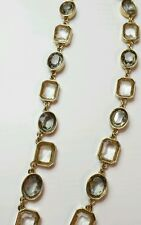 ANN TAYLOR Crystal Gray necklace new chain rhinestones LONG gold statement work
