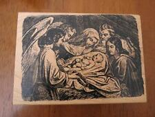 Angel & Mother Mary Baby Jesus in Manger Christmas Wood Mounted Rubber Stamp