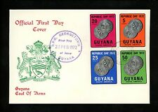 Postal History Guyana FDC #152-155 Coins numismatics currency 1972