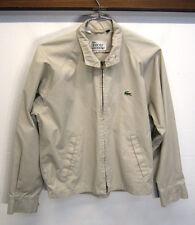 vtg IZOD Lacoste Drizzler Golf Jacket Windbreaker beige cotton sz L