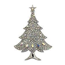 LUSSO Vintage Style Bianco Inverno Albero di Natale Oro Diamante Spilla br405