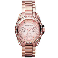 Nuevo Michael Kors Ladies Mini Blair Rose Gold Crono Watch-mk5613-RRP £ 229
