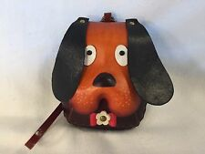Hand Tooled Leather Dog Puppy Doggie Coin Change Purse With Loop Wrist Strap NEW