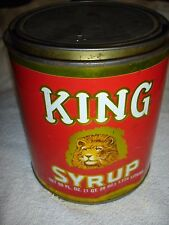 "VINTAGE TIN, KING SYRUP, "" LION PICTURE "", 60 ozs"