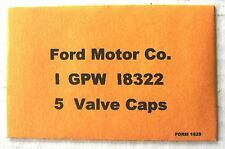 WWII Military Ford GPW GPA 18322 Valve Cap Envelope,  G503 G504