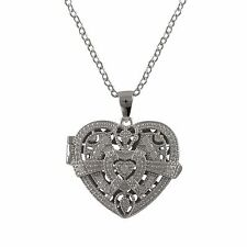 Sterling Silver CZ Filigree Heart Locket Womens Pendant Necklace