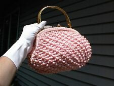 RARE VINTAGE RAFFIA MADE IN ITALY DOUBLE CLUTCH PINK STRAW & AB BEAD HANDBAG !!!