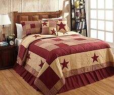 "3 PC. CAL KING ""JAMESTOWN"" BURGUNDY & TAN Quilted Bedding SET~Country,Primitive"