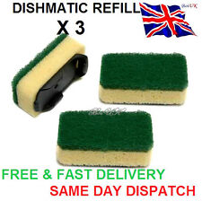 3x Heavy Duty VERDE dishmatic dishmatique SPUGNA Scourer sostituzione RICARICA HEAD