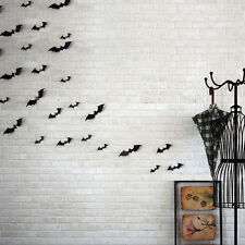 New 12pcs Black 3D DIY PVC Bat Wall Sticker Decal Home Halloween Decor Fashion