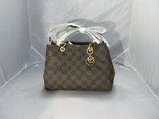 MICHAEL KORS CYNTHIA BROWN CHECKERBOARD MEDIUM SATCHEL HANDBAG