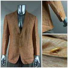 NWOT Recent ZEGNA Sport Orange 100% Linen Men`s Sport Coat 52 Sz 42R