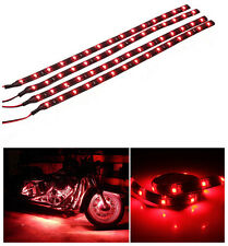 12V 4pcs 30CM/15 LED Car Motors Truck Flexible Strip Light Waterproof Red