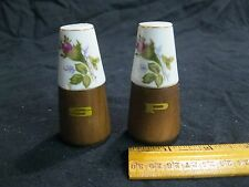 Vintage Wood Base Porcelain Top Rose Bud Salt and Pepper Shakers        31