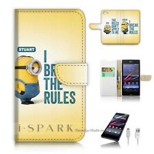 SONY Xperia ( Z5 Compact ) Flip Wallet Case Cover! S9104 Minion