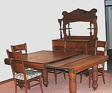 ANTIQUE 1850 OAK DINING ROOM SUITE (SET) EXTENSION TABLE BUFFET & 4 CHAIRS