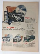 Original Print Ad 1954 ARGUS Camera C3 Color-Matic Vintage Artwork