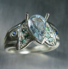 Natural Paraiba blue elbaite Tourmaline Copper Bearing 925 sterling silver ring