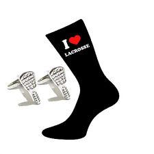 I Love Lacrosse Socks & Lacrosse stick Cufflinks Gift Set