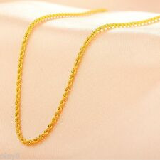 Fine Pure Au750 18K Yellow Gold Women's Men's Rope Chain Link Necklace 17.7inch