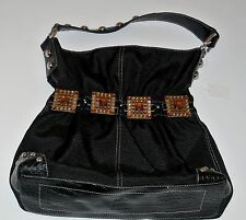 Studded Black Embellished Kathy VanZealand Hobo, M, 14 x 12 x 3.5 in, 7-in drop