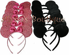 Minnie Mickey Mouse Ears Headbands 20 pcs Black Pink Birthday Party Costume New