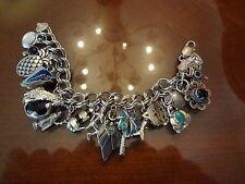 VINTAGE DOUBLE LINK STERLING SILVER CHARM BRACELET WITH 17 COOL CHARMS-925-
