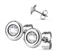 Flat Round Crystal Stud Earrings - Hypoallergenic Surgical Steel - GIFT BOXED