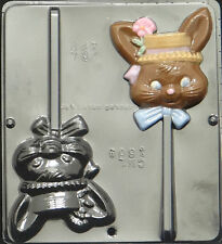 Girl Bunny Lollipop Chocolate Candy Mold Easter  1804 NEW