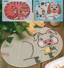 CRITTERS PLACE MATS PIG DOG TIGER PLASTIC CANVAS PATTERN INSTRUCTIONS