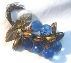 Exceptional 1920's Cascading Glass Crystal Beads & Leaves Brooch Pin