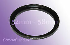 52mm a 58mm stepping maschio-femmina intensificare Filtro Anello Adattatore 52mm-58mm UK