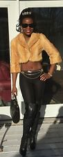 NWT New Unique Custom Elegant Crop Bleached gold mink fur coat Bolero jacket XXS