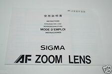 WOW Nice Camera Photo Sigma AF ZOOM Lens Manual