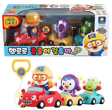 Pororo Tow Toy Set Car Sound Light Red Blue Yellow Character Children Kids Gift