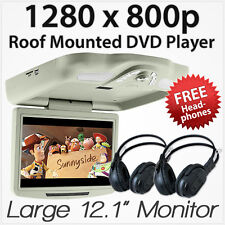 "12.1"" DVD Player In Car Roof Mount Flip Down Monitor 32 Bits Games USB RMVB AT"