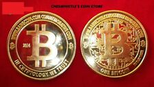 2014 Commemorative Special Edition Brass & Gold BTC BitCoin Coin Like Casascius