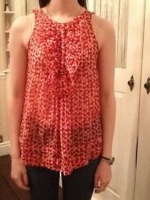 Zara Red Patterned Sleeveless top with ruffle front . Size S 8/10 Exc Cond