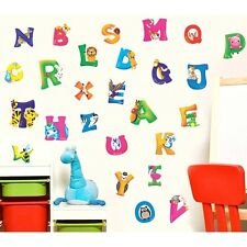 New Cartoon A-Z Alphabet Vinyl Mural Wall Stickers Children Room Decals Decor LJ