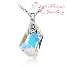 18K White Gold Plated Genuine Swarovski Crystal Light Multicoloured Necklace